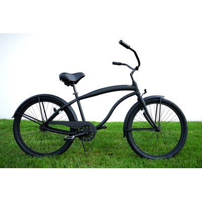 Men's Single Speed Aluminum Beach Cruiser Frame Color: Flat Black with Black Wheels