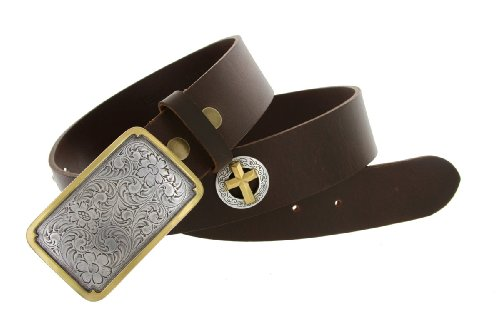 Mens Oil Tanned Leather Belt with Gold Accented Western Cowboy Buckle and Cross Conchos (32 Brown)