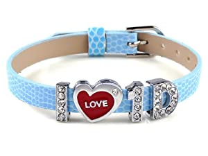 Fashion I Love One Direction I Love Id Blue Wristband Bracelet Slider Zircon Crystal Letter from Yiwu City Yinuo E-Commercial Business Co.,Ltd