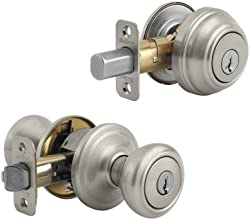 Kwikset 991 Cameron Entry Knob and Single Cylinder Deadbolt Combo Pack featuring SmartKey® in Satin Nickel
