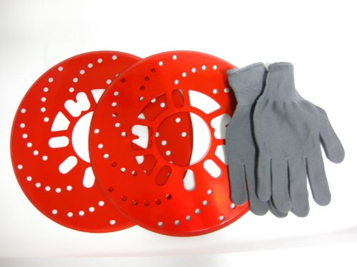 選べる3色! ドレスアップ 軽量 ディスクブレーキ 風 ドラムブレーキ カバー 2枚セット オリジナル作業手袋付 (レッド)
