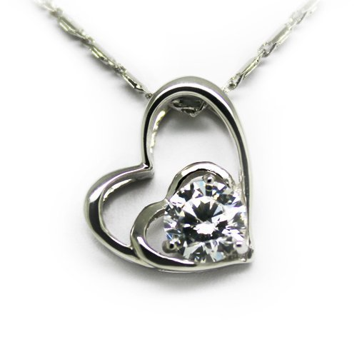 Top Value Jewelry - 925 Sterling Silver Heart Pendant, Women Charm Necklace, Cubic Zirconia Stone, Free 18 Inch Chain