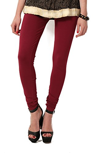 Women's solid Maroon Cotton-Lycra Leggings/Churidars