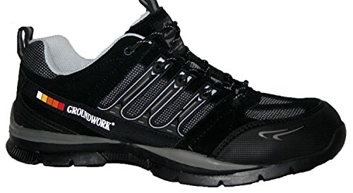 Travail Pour Homme Bottes, Chaussures de travail homme, Groundwork GR55jusqu'en dentelle avec embout en acier Chaussures de sécurité