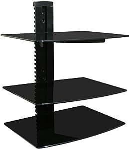 wall mounted av component shelving system with 3 adjustable tempered glass shelves. Black Bedroom Furniture Sets. Home Design Ideas