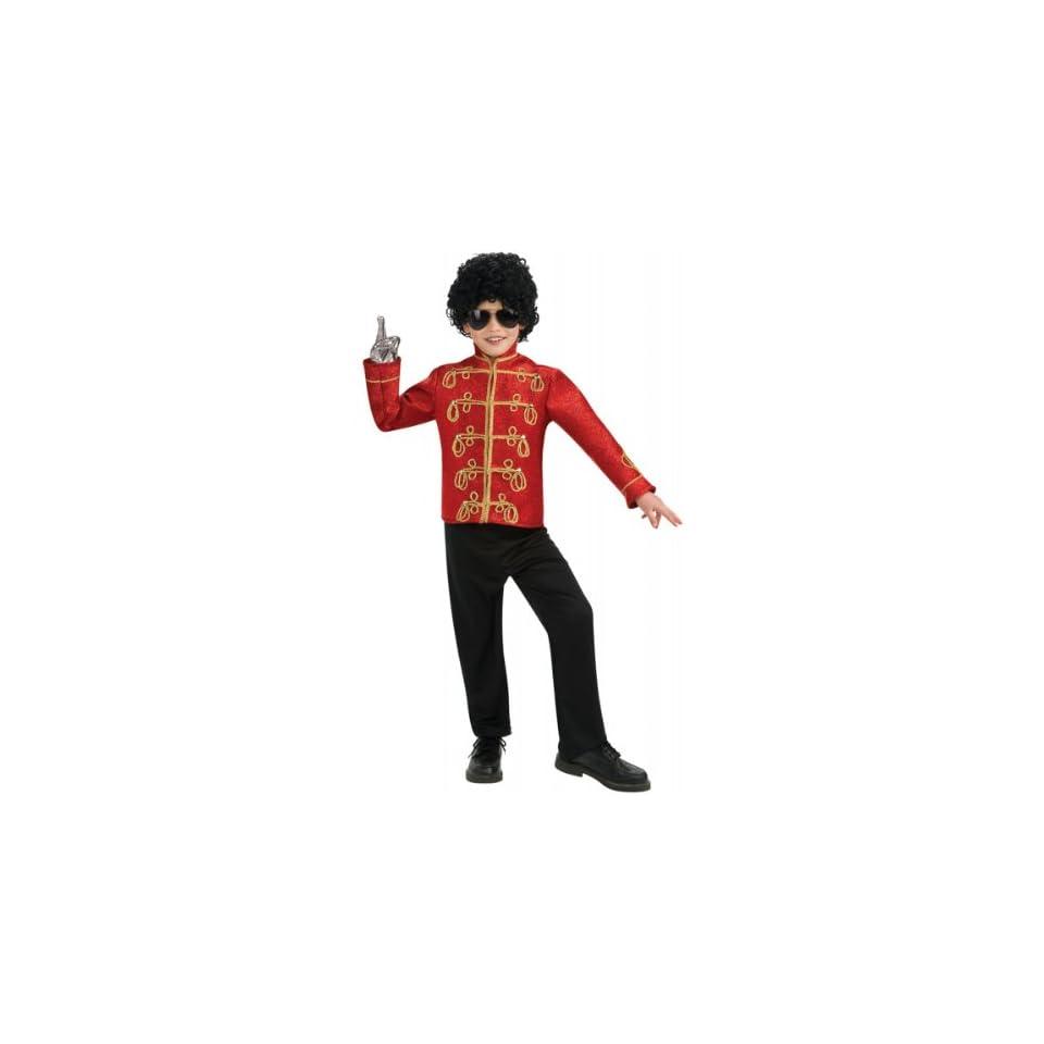 Michael Jackson Deluxe Red Military Jacket Child   Medium (8 10)