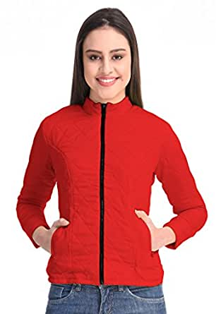 Femninora Women's Red Color Quilted Jacket