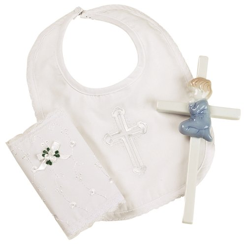 Elegant Baby Boy's Christening Gift Set Includes 100% Cotton Bib, Wall Hanging Porcelain Cross & Bible. Gift Boxed (Discontinued by Manufacturer)
