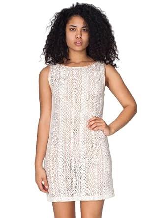 American Apparel Zig Zag Lace Scoop Back Dress - Natural / L