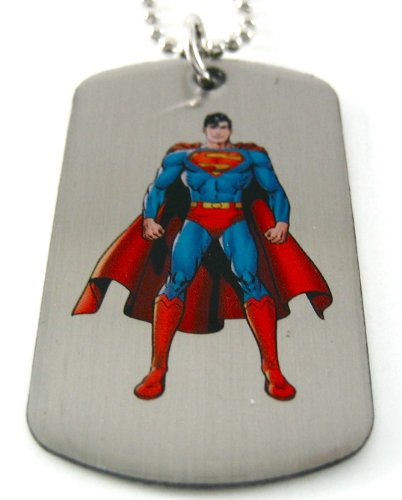: Superman Man of Steel Dog Tag & Chain Necklace