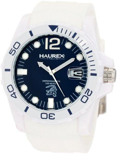Haurex Italy Caimano - Reloj analógico de caballero de cuarzo con correa de goma blanca