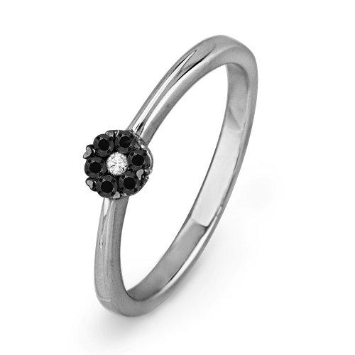 10KT White Gold Round Diamond Black And White Flower Promise Ring (1/6 CTTW)