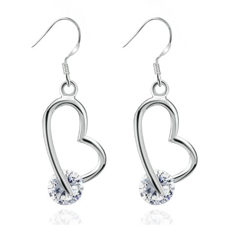 Swarovski Elements 18K White Gold Plated 925 Sterling Silver Heart Hoop with Clear Austrian Crystal Diamond Cubic Zirconia Dangle Earrings Picture