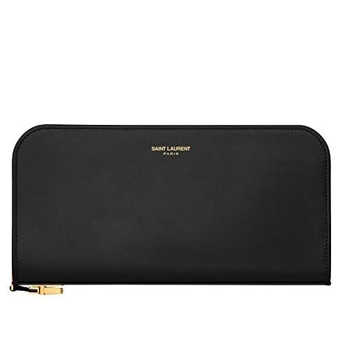 (サンローランパリ) Saint Laurent Classic Tuc Zip Around Wallet In Black,Dark Magenta,Red Leather  (並行輸入品) LASTERR (Black)