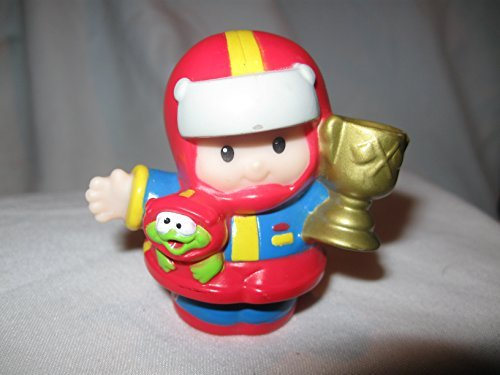 Fisher Price Little People Race Car Driver Eddie Holding Trophy Red, Blue & Yellow Race Suit Racer OOP 2004