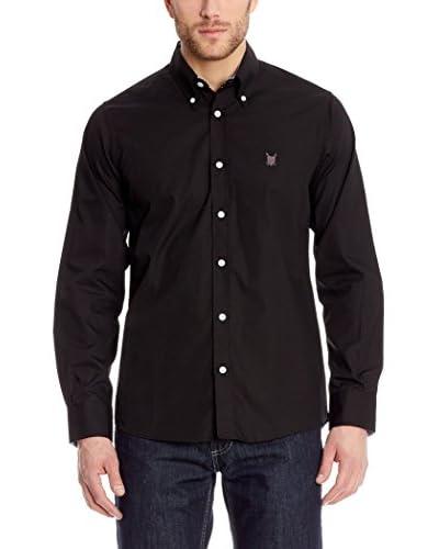 POLO CLUB Camisa Hombre Fitted Escudo Negro M