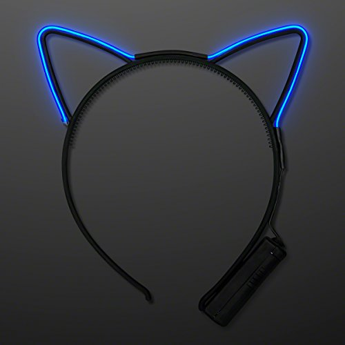 Blue EL Wire Cat Ears Headband (Light Up Blue Headband compare prices)