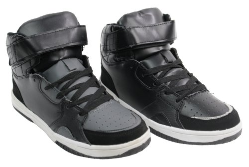 Mens Hi Top Ankle Trainers Retro Black Grey Skate Basketball Sneaker Pumps Strap