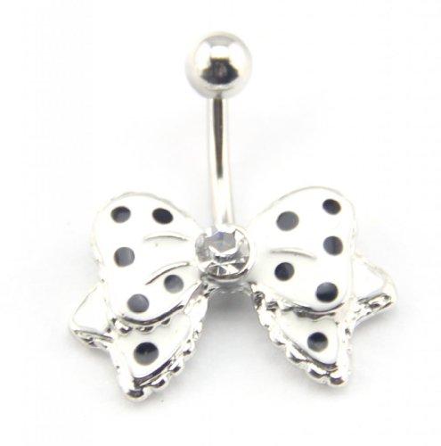 Baqi 14G White Bow Bowknot Enamel Belly Ring Navel Bar Body Piercing Jewelry White