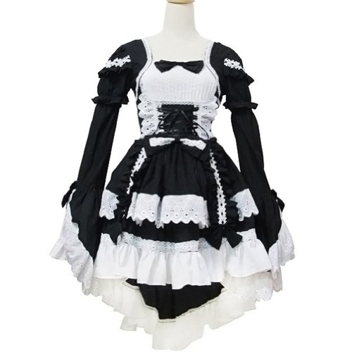 Sexy Black Japan Cosplay Lolita Maid Outfit Halloween Fancy Dress Costumes Outfit