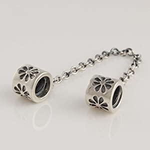 925 Sterling Silver Daisy Safety Chain Clasp Stopper for Pandora, Biagi, Chamilia, Troll and More Bracelets