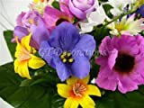 Artificial Silk Flower Anemone Daisy Rose Crocus Mixed Bush from GT Decorations