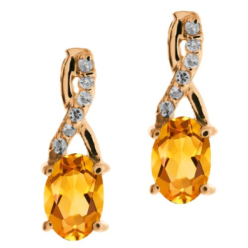 0.87 Ct Oval Yellow Citrine and Topaz Rose Gold Plated Sterling Silver Earrings