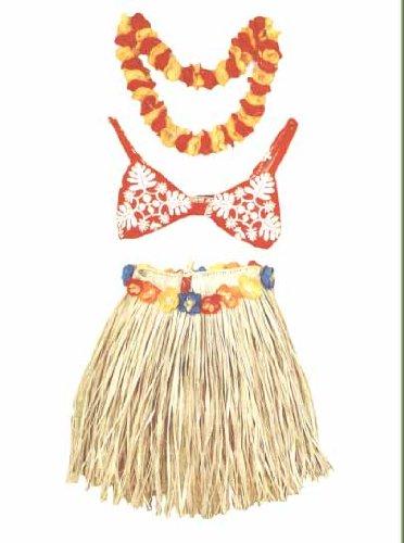TIKI HULA GRASS SKIRT SET - TEENAGER - HAWAIIAN HULA OUTFIT