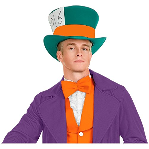 [GSG Mad Hatter Costume Accessory Adult Mens Top Hat Fancy Dress Halloween] (Plus Size Dark Mad Hatter Costume)
