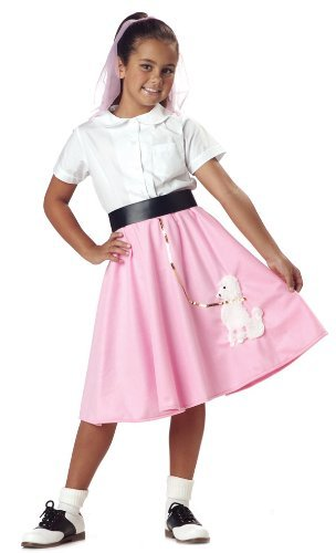 Girls 50's Pink Poodle Skirt Costume Child Small