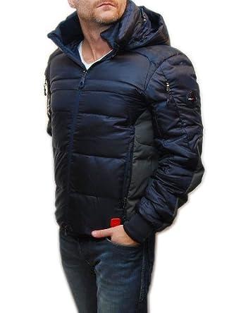 Buy Ralph Lauren RLX Mens Ski Puffer Down Hooded Jacket Coat Navy Blue Gray by RALPH LAUREN