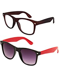 Sheomy Unisex Combo Pack Of Transparent Brown Wayfarer Sunglasses And Black Red Wayfarer Sunglasses For Men And...