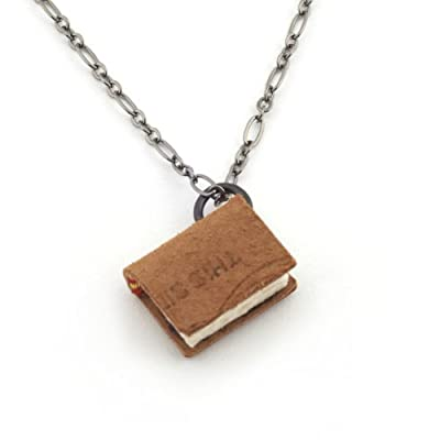 Book Charm Necklace by Peg and Awl - Small, Gunmetal