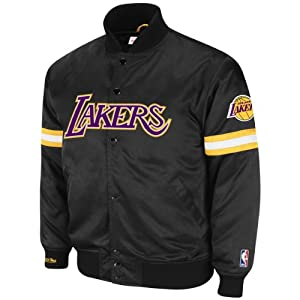 Los Angeles Lakers Black Mitchell & Ness Backup Satin Front Snap Jacket by Mitchell & Ness