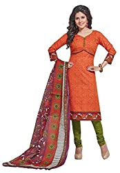 Salwar Studio Women's Tomato Red & Mehendi Cotton Floral, Striped Printed Dress Material with Dupatta