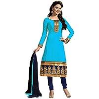 Finivo Fashion Women's Cotton Salwar Suit Dress Material (FFFM105_2_Sky Blue)