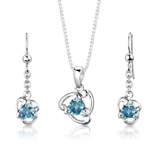 Peora Sterling Silver Rhodium Finish 2.50 carats total weight Trillion Cut Swiss Blue Topaz Pendant Earrings and 18 inch Necklace Set