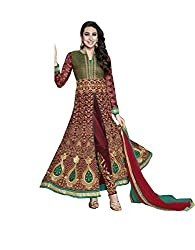 Fashion Fire Women's Maroon Embroidered Georgette Anarkali Unstitched Dress Material