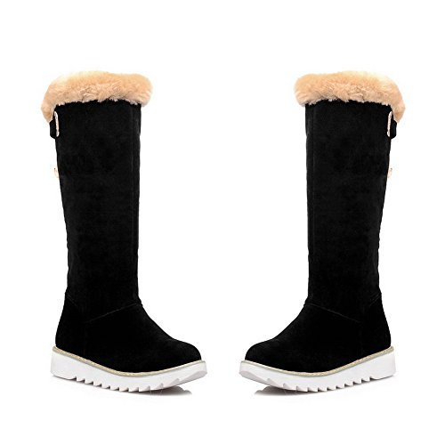 VogueZone009 Womens Closed Round Toe Low Heels Xi Shi Velvet Short Plush Solid Boots with Sequin
