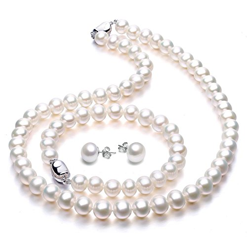 VIKI LYNN Freshwater Cultured Pearl Necklace Set Includes Stunning Bracelet and Stud Earrings