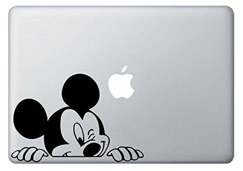 かわいい♪ ミッキーマウス Mickey Mouse 覗き ウィンク スマイル ステッカー シール デカール for macbook マックブック  (macbook13インチサイズ, ブラック)