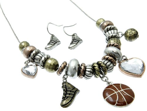 NECKLACE AND EARRING SET METAL CRYSTAL STONE MULTI Fashion Jewelry Costume Jewelry fashion accessory Beautiful Charms