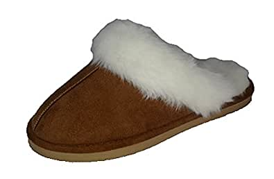Ladies Famous DUNLOP SARAH faux suede mule slippers with faux fur lining & cuff CHESTNUT size 3 UK