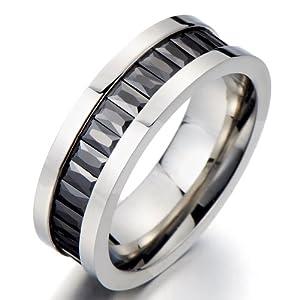 Amazon.com: Emerald Cut Eternity Ring Mens Engagement Ring