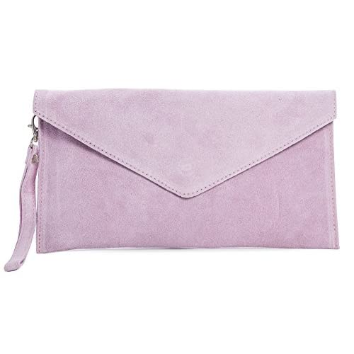 Big Handbag Shop Women's Real Italian Suede Leather Envelope Clutch Bag