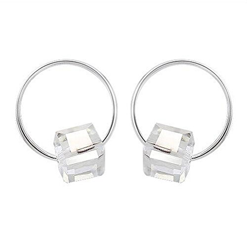 Winter's Secret Lovely Lohas Girl Little Small Circle White Cube Sugar Crystal Silver Plated Earring (18 Gauge Nickle Silver Sheet compare prices)