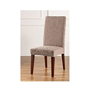Sure Fit Stretch Jacquard Damask Short Dining Room Chair Cover Mushroom Sofa