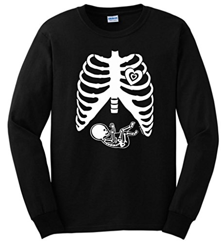 Pregnant Skeleton Baby Maternity Theme Costume Long Sleeve T-Shirt Small Black front-936712