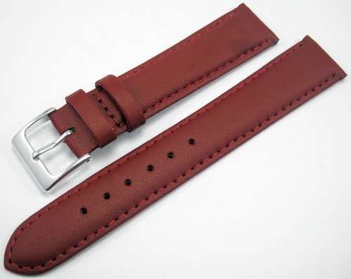Red Padded Leather Watch Strap Band With A Stitched Edging And Nubuck Lining 18mm