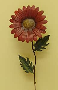 Rusty Red Metal Daisy Garden Stake Statuary